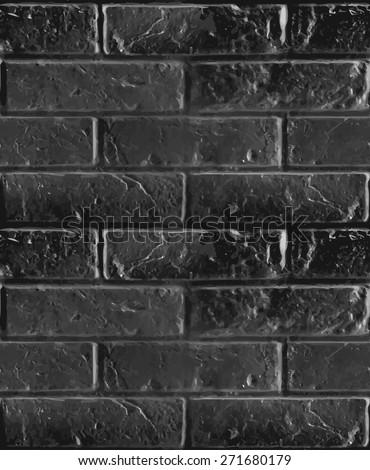 Vector seamless pattern of black brick wall. Dark boundless illustration. - stock vector