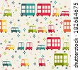 Vector seamless pattern of cars. Cartoon vehicles. Kid's elements for scrap-booking. Childish background. Hand drawn vector illustration.  - stock vector