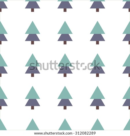 Vector seamless pattern of christmas trees - stock vector