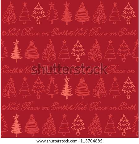 Vector seamless pattern of christmas trees & words - stock vector