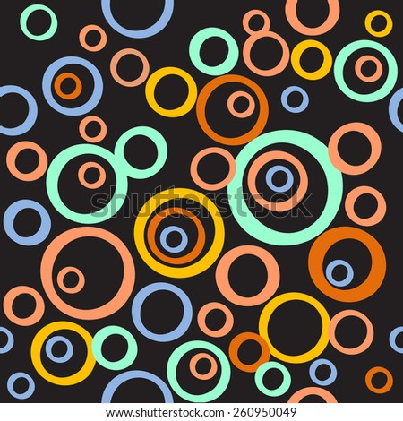 Vector seamless pattern of circles. Geometric abstract hand-drawn pattern on black background for print, web, fabric