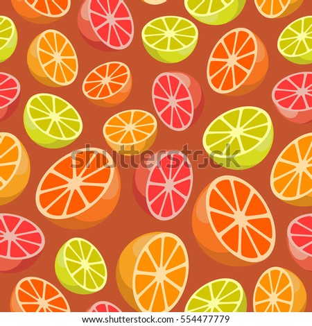 Vector seamless pattern of citrus fruits on orange background