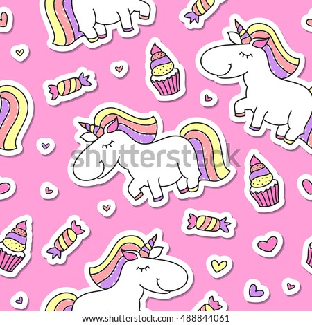 vector seamless pattern of cute cartoon unicorns, baby background with paper stickers