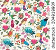 Vector seamless pattern of cute hand-drawn cartoon birds in bright colors. - stock vector
