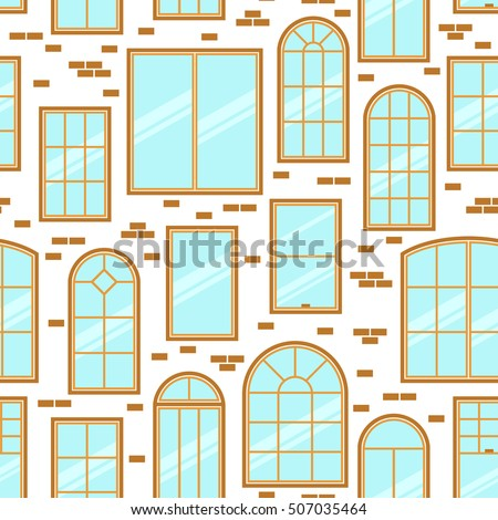 Vector seamless pattern different types windows stock for Types of window panes