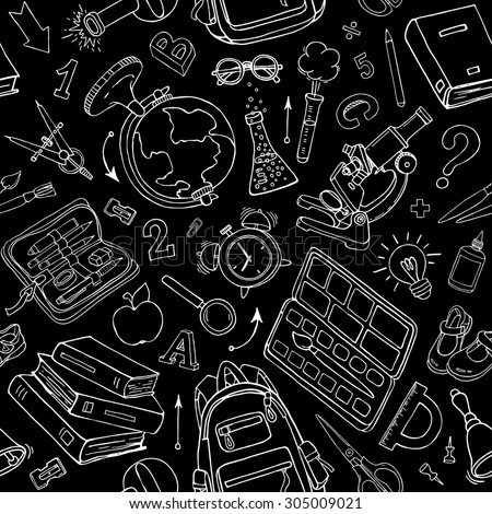 Vector seamless pattern of doodle school supplies on blackboard. Black and white back to school sketchy elements - stock vector