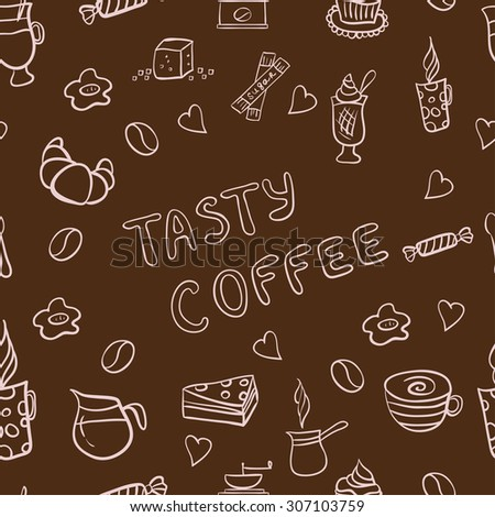 Vector seamless pattern of doodles, hand drawn rough simple coffee theme sketches, various kinds of coffee, ingredients and devices for coffee making with tasty cakes and candies.