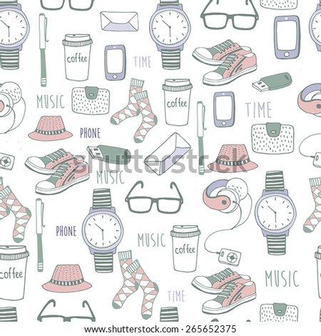 Vector seamless pattern of fashionable men's accessories. vector illustration backdrop Vector template for design. - stock vector
