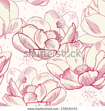Vector seamless pattern of flower  lotus isolated, sketchy hand drawn illustration on vintage paper background - stock vector