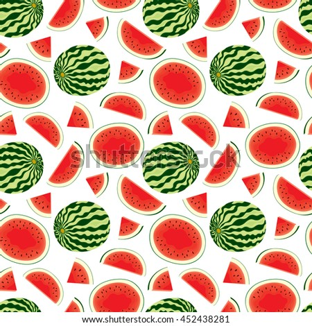 Vector seamless pattern of fresh watermelon slices and whole watermelon in color on white background. - stock vector