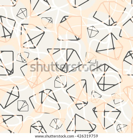 Vector seamless pattern of geometric shapes. Modern graphic design in pink color. Decorative trendy pattern. - stock vector