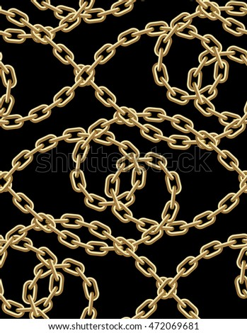 Vector seamless pattern of golden chains