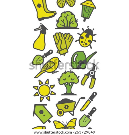 Vector seamless pattern of green garden tools and accessories - stock vector