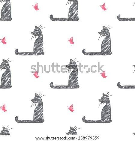 vector seamless pattern of hand drawn cats and butterflies - stock vector