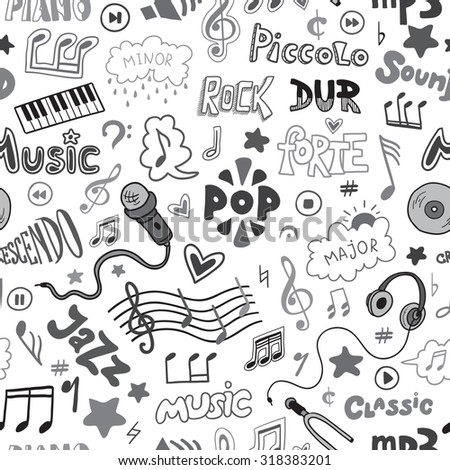 Vector seamless pattern of hand drawn doodles on a music theme. Colorless music symbols and word