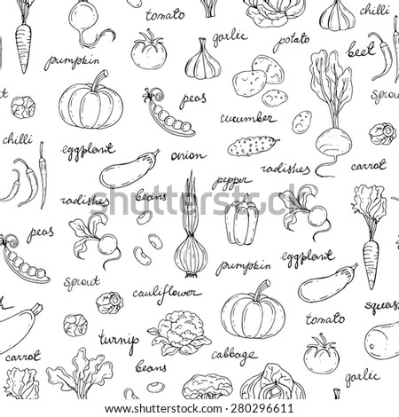 Vector seamless pattern of hand drawn fresh vegetables with titles on white background. Background for use in design, web site, packing, textile, fabric