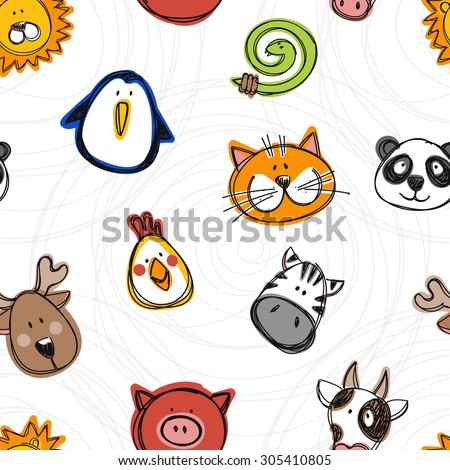 Vector seamless pattern of hand drawn funny doodle animals, sketch style. Good for children's stuff, invitations, stationery. - stock vector