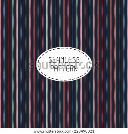 Vector seamless pattern of hand drawn lines. Doodle background. Beautiful striped simple colorful texture.