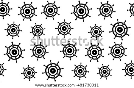 Vector seamless pattern of hand wheels of vehicles