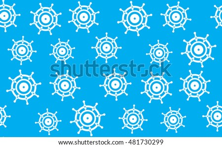 Vector seamless pattern of hand wheels of vehicles. Blue texture from the helm