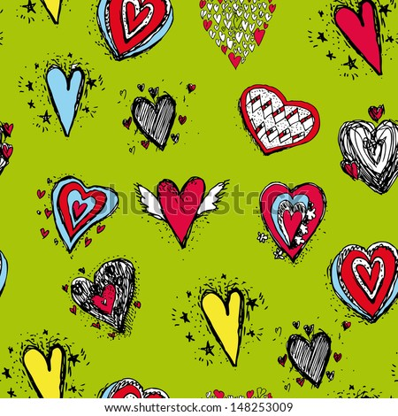 vector seamless pattern of heart - stock vector