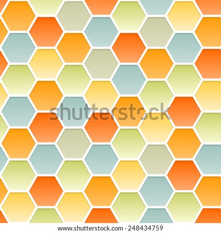 Vector seamless pattern of hexagons similar to a honeycomb. Infinite ornament pastel colors. Warm and pleasant summer background. Vector EPS 10. - stock vector