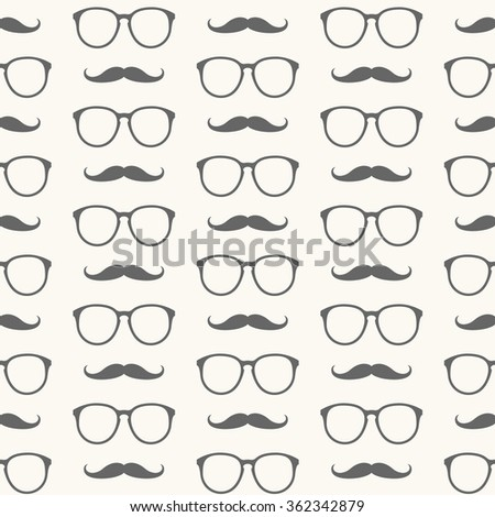 Vector seamless pattern of hipster mustache and glasses - stock vector