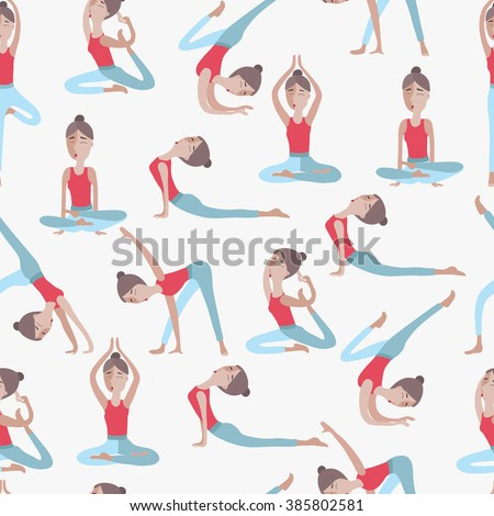 Women Silhouettes Collection Yoga Poses Asana Stock Vector ...