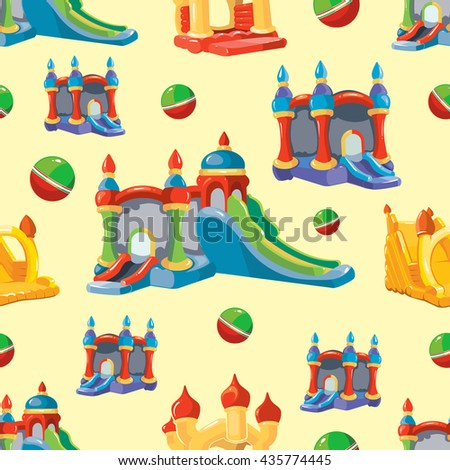 Vector seamless pattern of inflatable castles and children hills on playground. Pictures isolate on light background - stock vector