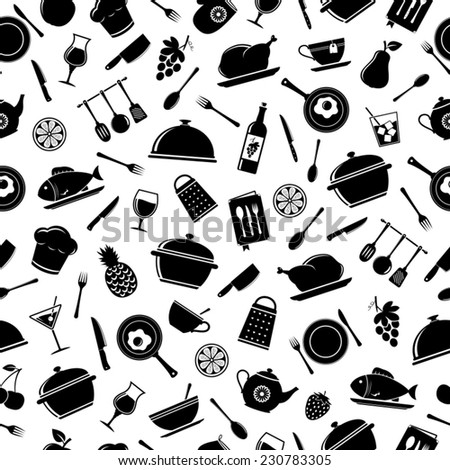 Vector seamless pattern of kitchen tools - stock vector