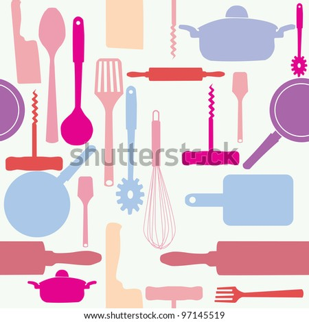 Vector seamless pattern of kitchen tools. - stock vector