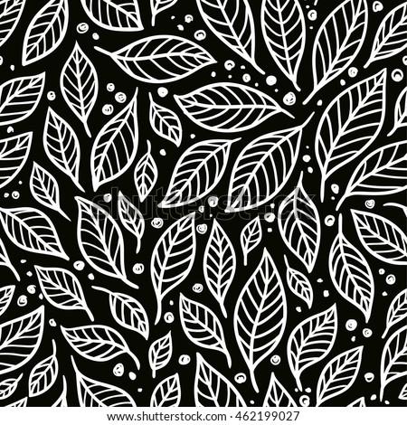 vector seamless pattern leaves on black stock vector