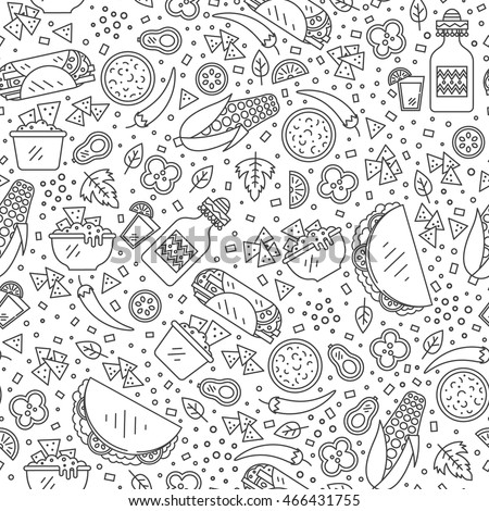 Vector seamless pattern of mexican food in linear style. Mexican national traditional food and drink flat icon made in pattern. Perfect for for web site, applications.