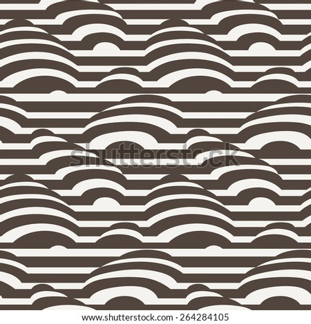 Vector seamless pattern of monohrome stripes with simulated 3d object - stock vector