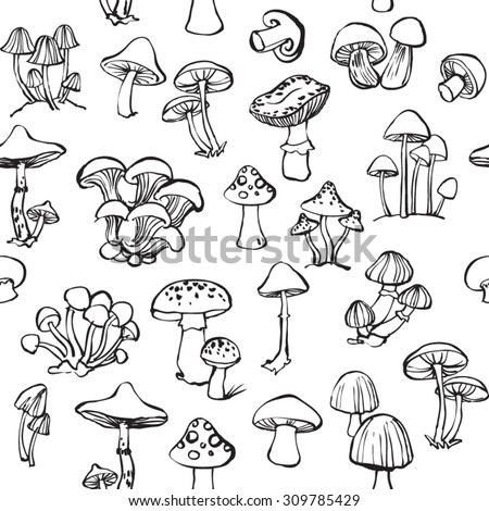 Vector seamless pattern of mushroom and toadstools - stock vector