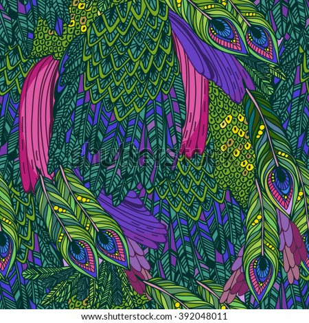 Vector seamless pattern of peacock feathers  - stock vector
