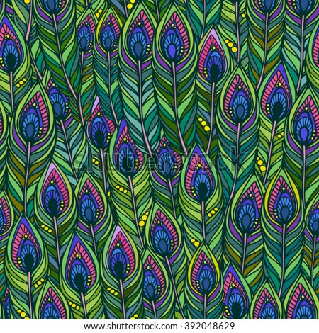 Vector seamless pattern of peacock feathers Endless background.Vector backdrop. Bright pattern. Use for wallpaper, web page background - stock vector