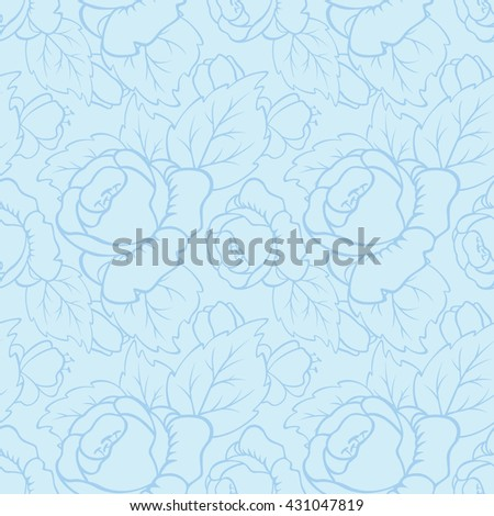 Vector seamless pattern of peony flowers. - stock vector