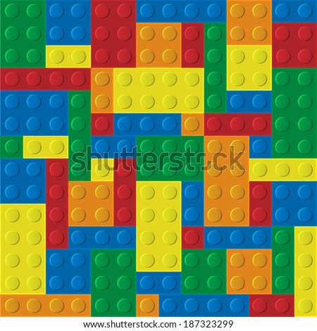 Vector seamless pattern of plastic building blocks - stock vector