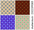 Vector seamless pattern of 4 point stars. Set of four 3 color variations are provided with 4x4 fills of each. Fourth of July, Christmas, autumn, and halloween selections are included.  - stock vector