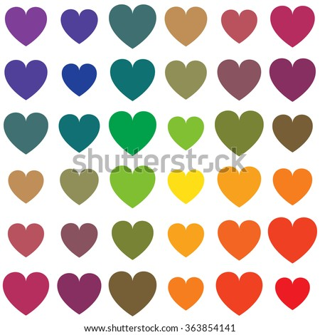 Vector seamless pattern of rainbow colored hearts in different sizes isolated on white the background. - stock vector