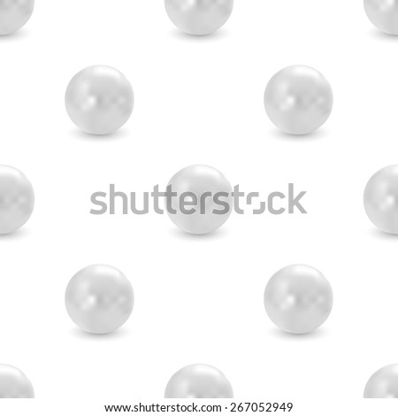 vector seamless pattern of realistic silver pearls - stock vector