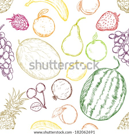 Vector Seamless Pattern of Sketch Fruits on White Background - stock vector