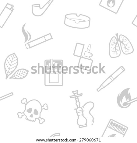 Vector seamless pattern of smoking line style elements - stock vector