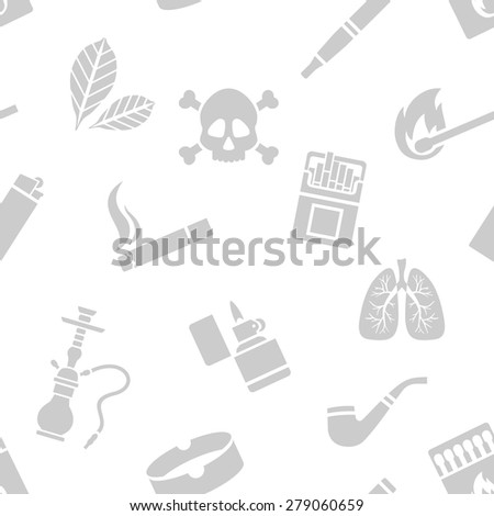 Vector seamless pattern of smoking silhouette elements - stock vector