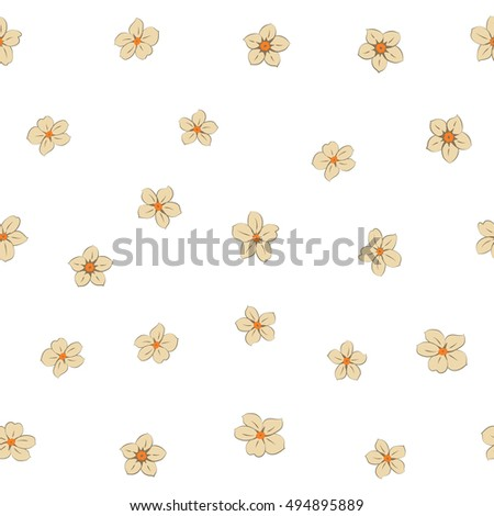Vector seamless pattern of stylized floral motif, many small flowers, hole, spots on white background. Hand drawn small beige flowers. Seamless floral background in beige colors.