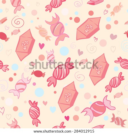 Vector seamless pattern of sweets and candies on light beige background. Bright colors and doodle elements for your design. - stock vector