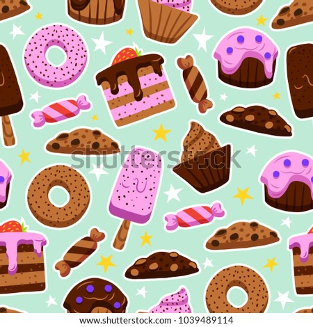 Vector Seamless Pattern Of Sweets In The Doodles Style Wallpaper Cute Desserts Donuts