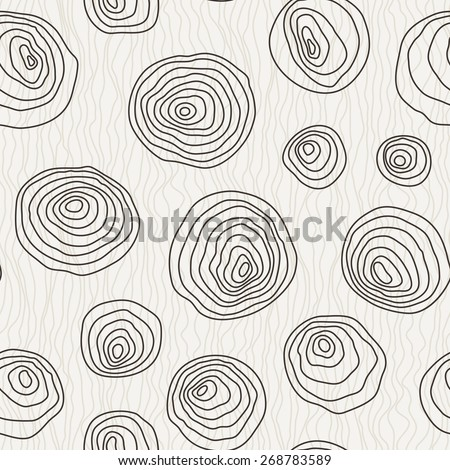 Vector seamless pattern of the curves manually drawn concentric circles - stock vector