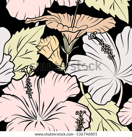Vector seamless pattern of tropical hibiscus flowers in beige colors with watercolor effect on black background.